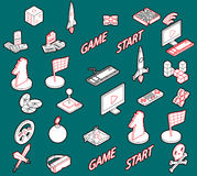 Illustration of info graphic game icons set concept Stock Photography