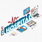 Illustration of info graphic hospital icons set concept Royalty Free Stock Photos