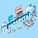 Illustration of info graphic hospital icons set concept. In isometric 3d graphic Royalty Free Stock Photo