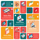 Illustration of info graphic hospital icons set concept. In isometric 3d graphic Royalty Free Stock Photos