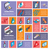 Illustration of info graphic hospital icons set concept. In isometric 3d graphic Stock Photos