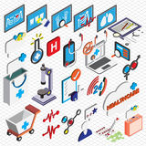 Illustration of info graphic hospital icons set concept. In isometric 3d graphic Stock Images