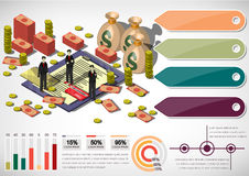 Illustration of info graphic money equipment concept. In isometric 3D graphic Stock Photography