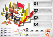 Illustration of info graphic money equipment concept. In isometric 3D graphic Stock Images
