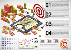 Illustration of info graphic money equipment concept. In isometric 3D graphic Stock Photo