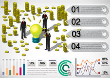 Illustration of info graphic money equipment concept. In isometric 3D graphic Royalty Free Stock Photos