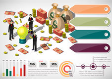Illustration of info graphic money equipment concept. In isometric 3D graphic Royalty Free Stock Images