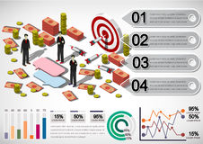 Illustration of info graphic money equipment concept. In isometric 3D graphic Royalty Free Stock Image