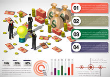Illustration of info graphic money equipment concept. In isometric 3D graphic Royalty Free Stock Photography