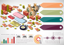 Illustration of info graphic money equipment concept. In isometric 3D graphic Stock Photos