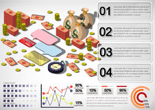 Illustration of info graphic money equipment concept. In isometric 3D graphic Stock Image
