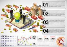 Illustration of info graphic money equipment concept. In isometric 3D graphic Royalty Free Stock Photo
