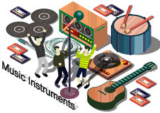 Illustration of info graphic music instruments concept. In isometric graphic Royalty Free Stock Photo