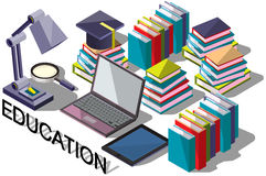 Illustration of info graphic online education concept Stock Photos