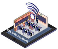 Illustration of info graphic online education concept Stock Images