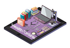 Illustration of info graphic online medical concept Royalty Free Stock Photos