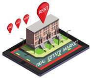Illustration of info graphic online real estate market concept. In isometric graphic Royalty Free Stock Images
