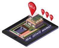 Illustration of info graphic online real estate market concept Stock Photography