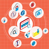 Illustration of info graphic online technology icons set concept. In isometric 3d graphic Stock Image