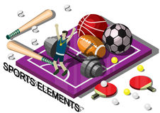 Illustration of info graphic sports equipment concept Royalty Free Stock Image