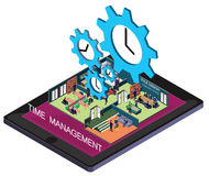 Illustration of info graphic time management concept. In isometric graphic Royalty Free Stock Photos