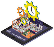 Illustration of info graphic time management concept. In isometric graphic Royalty Free Stock Photo