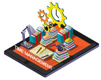 Illustration of info graphic time management concept. In isometric graphic Stock Images