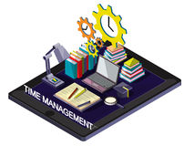 Illustration of info graphic time management concept. In isometric graphic Stock Image