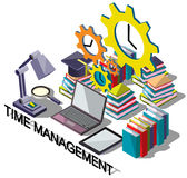 Illustration of info graphic time management concept. In isometric graphic Stock Photography