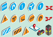 Illustration of info graphic traffic signs icons set concept. In isometric 3d graphic Royalty Free Stock Photography