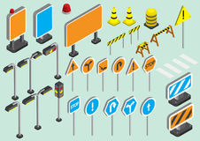 Illustration of info graphic traffic signs icons set concept. In isometric 3d graphic Royalty Free Stock Photos