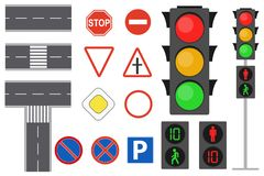 Illustration of info graphic traffic signs icons set concept. Traffic sign and lights realistic. Flat road signs set. royalty free illustration