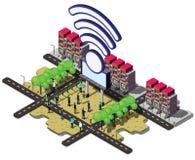 Illustration of info graphic urban wifi concept Stock Photos