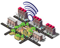 Illustration of info graphic urban wifi concept Stock Photography