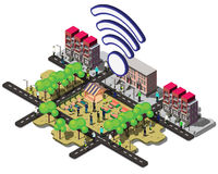 Illustration of info graphic urban wifi concept Royalty Free Stock Image