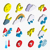 Illustration of info graphic weather icons set concept. In isometric 3d graphic Royalty Free Stock Photos