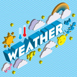 Illustration of info graphic weather icons set concept. In isometric 3d graphic Royalty Free Stock Photography