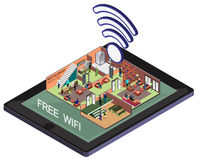 Illustration of info graphic wifi mobile phone concept Royalty Free Stock Image