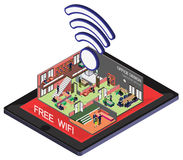 Illustration of info graphic wifi mobile phone concept Stock Photos