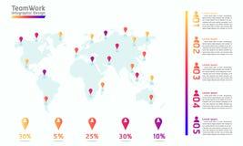 Illustration infographic eps10 de vecteur de conception de point de marque de carte du monde de travail d'équipe