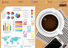 Vector illustration Infographic template Business modern Idea and Concept. with coffee cup,paper,diary,Pen,cellphone,Colorful,icon. Illustration Infographic Stock Images