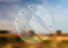 Illustration infographic template with circle created by three glass sheets. Illustration infographic template. Circle created by three transparent glass sheets Stock Photos