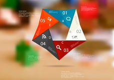 Illustration infographic template with color origami pentagon from five sections Royalty Free Stock Photography