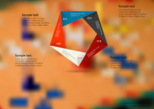 Illustration infographic template with color origami pentagon from five sections Royalty Free Stock Images