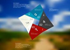 Illustration infographic template with color square origami consists of four parts Stock Photos