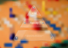 Illustration infographic template with glass triangle on blurred photo background Stock Photography