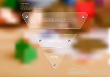 Illustration infographic template with glass triangle on blurred photo background. Illustration infographic template with motif of glass triangle horizontally Stock Photos