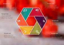 Illustration infographic template with hexagon divided to six parts royalty free stock photos
