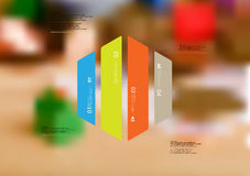 Illustration infographic template with hexagon vertically divided to four color parts Stock Images