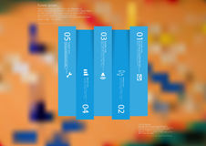 Illustration infographic template with rectangle vertically divided to five shifted blue parts Stock Photos